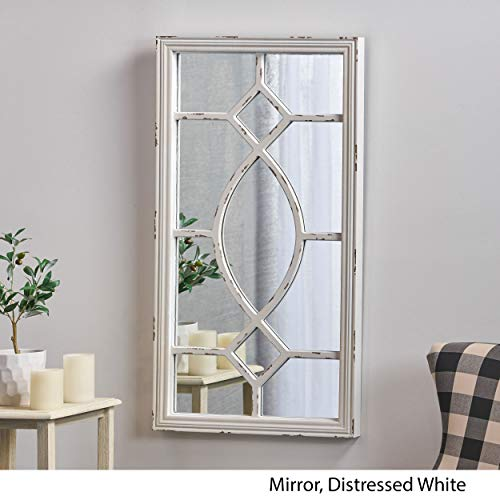 Great Deal Furniture Zoe Rectangular Wooden Rustic Farmhouse Mirror Distressed White Frame 0 1