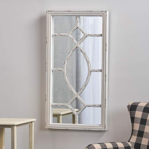 Great Deal Furniture Zoe Rectangular Wooden Rustic Farmhouse Mirror Distressed White Frame 0 2