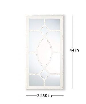 Great Deal Furniture Zoe Rectangular Wooden Rustic Farmhouse Mirror Distressed White Frame 0 3 300x360