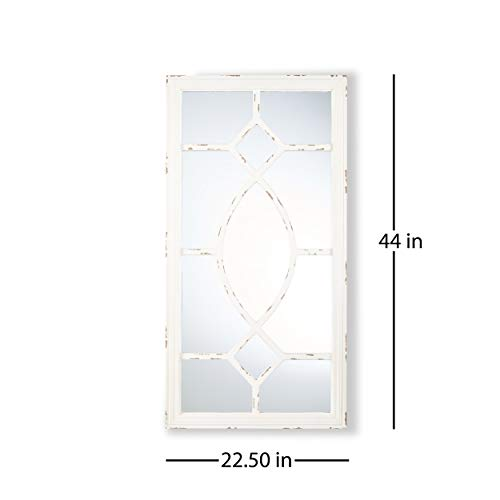 Great Deal Furniture Zoe Rectangular Wooden Rustic Farmhouse Mirror Distressed White Frame 0 3