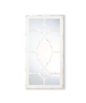 Great Deal Furniture Zoe Rectangular Wooden Rustic Farmhouse Mirror Distressed White Frame 0 300x360