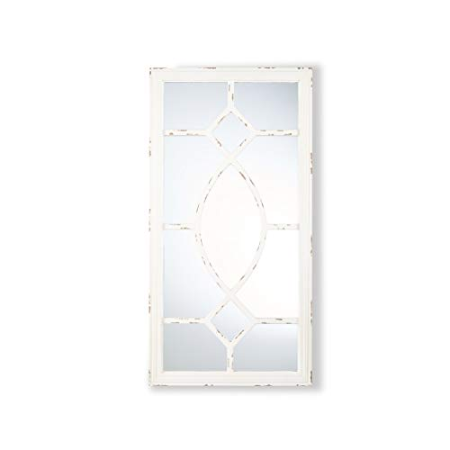 Great Deal Furniture Zoe Rectangular Wooden Rustic Farmhouse Mirror Distressed White Frame 0