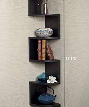 Greenco 5 Tier Wall Mount Corner Shelves Espresso Finish 775 L X 775 W X 485 H 0 0 300x360