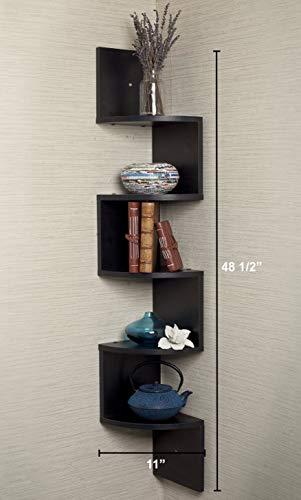 Greenco 5 Tier Wall Mount Corner Shelves Espresso Finish 775 L X 775 W X 485 H 0 0