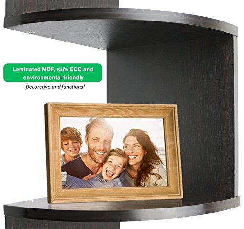 Greenco 5 Tier Wall Mount Corner Shelves Espresso Finish 775 L X 775 W X 485 H 0 2