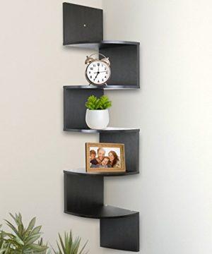 Greenco 5 Tier Wall Mount Corner Shelves Espresso Finish 775 L X 775 W X 485 H 0 300x360