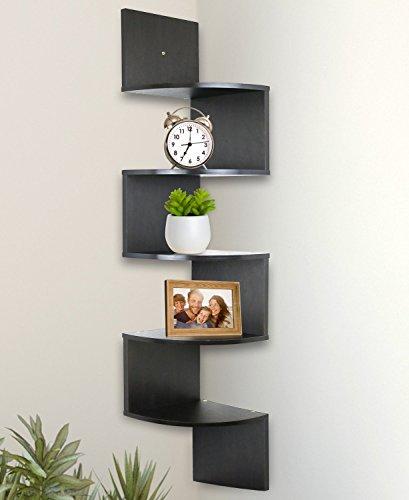 Greenco 5 Tier Wall Mount Corner Shelves Espresso Finish 775 L X 775 W X 485 H 0