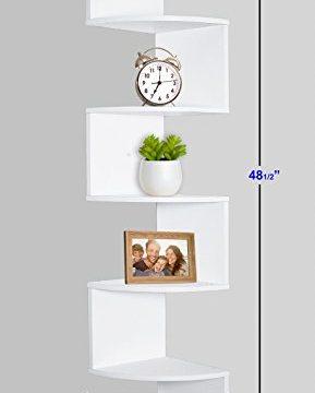 Greenco 5 Tier Wall Mount Corner Shelves White Finish 0 1 289x360