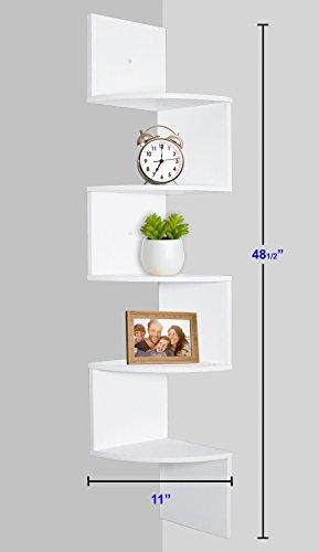 Greenco 5 Tier Wall Mount Corner Shelves White Finish 0 1