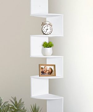 Greenco 5 Tier Wall Mount Corner Shelves White Finish 0 300x360