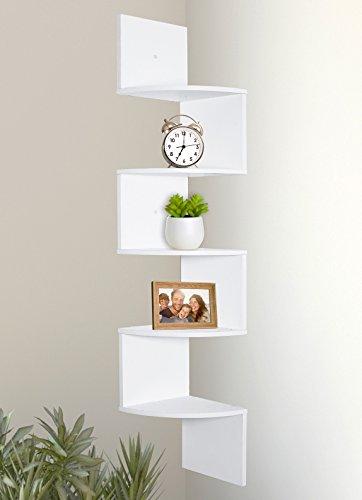 Greenco 5 Tier Wall Mount Corner Shelves White Finish 0