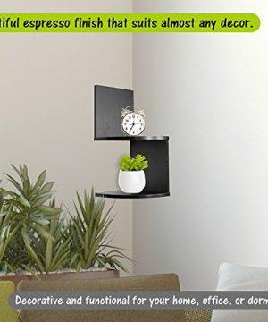 Greenco Modern Design 2 Tier Corner Floating Shelves Espresso 0 1 300x360