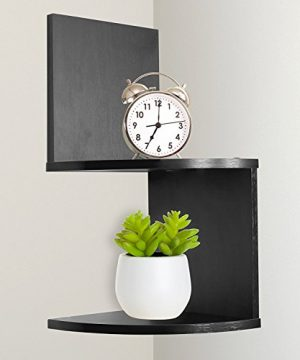 Greenco Modern Design 2 Tier Corner Floating Shelves Espresso 0 300x360
