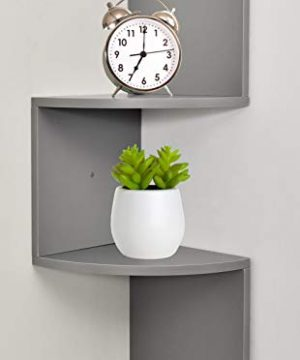 Greenco Zigzag 2 Tier Corner Floating Shelves Gray Finish 0 300x360