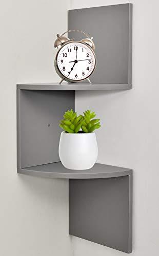 Greenco Zigzag 2 Tier Corner Floating Shelves Gray Finish 0