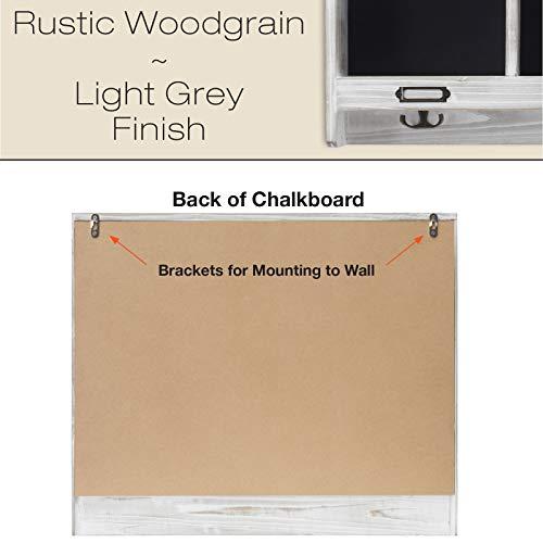 Grey Wooden Wall Mounted Hanging Entryway Shelf With Chalkboard With Chalkboard 3 Double Hooks 20x24 Use As Coat Rack Hat Organizer Key Holder In Mudroom Kitchen Bathroom Hallway Foyer 0 1