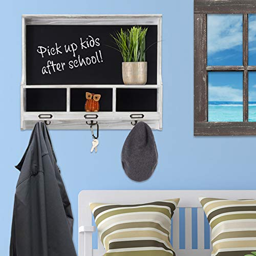 Grey Wooden Wall Mounted Hanging Entryway Shelf With Chalkboard With Chalkboard 3 Double Hooks 20x24 Use As Coat Rack Hat Organizer Key Holder In Mudroom Kitchen Bathroom Hallway Foyer 0 2