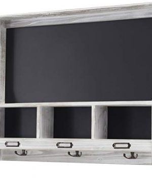 Grey Wooden Wall Mounted Hanging Entryway Shelf With Chalkboard With Chalkboard 3 Double Hooks 20x24 Use As Coat Rack Hat Organizer Key Holder In Mudroom Kitchen Bathroom Hallway Foyer 0 300x360