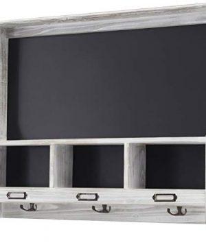 Grey Wooden Wall Mounted Hanging Entryway Shelf With Chalkboard With Chalkboard 3 Double Hooks 20x24 Use As Coat Rack Hat Organizer Key Holder In Mudroom Kitchen Bathroom Hallway Foyer 0 300x360