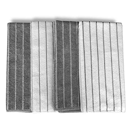 Gryeer Microfiber Dish Towels 8 Pack Stripe Designed Gray And White Colors Soft Super Absorbent And Lint Free Kitchen Towels 26 X 18 Inch 0 0