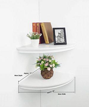 HAO Set Of 2 Large Classic Radial Corner Wall Shelf Corner Shelves MDF Floating Shelving Approx 17 White 0 1 300x360
