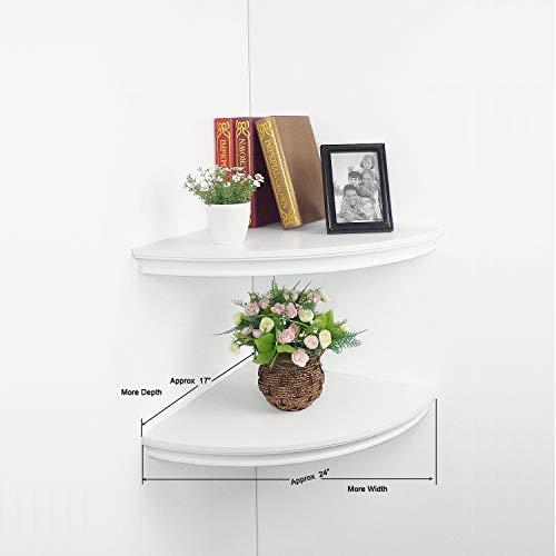 HAO Set Of 2 Large Classic Radial Corner Wall Shelf Corner Shelves MDF Floating Shelving Approx 17 White 0 1
