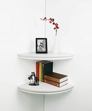 HAO Set Of 2 Large Classic Radial Corner Wall Shelf Corner Shelves MDF Floating Shelving Approx 17 White 0 300x360