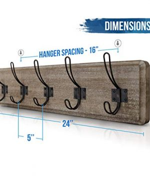 HBCY Creations Rustic Coat Rack Wall Mounted Brown Wooden 24 Entryway Coat Hooks 5 Rustic Hooks Solid Pine Wood Perfect Touch For Your Entryway Kitchen Bathroom Weathered Brown 0 2 300x360