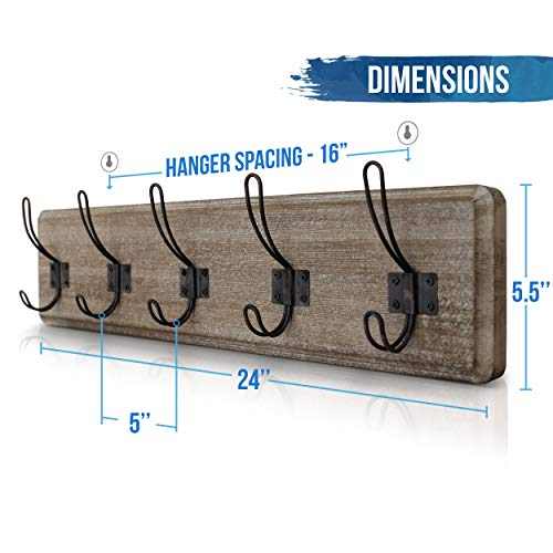 HBCY Creations Rustic Coat Rack Wall Mounted Brown Wooden 24 Entryway Coat Hooks 5 Rustic Hooks Solid Pine Wood Perfect Touch For Your Entryway Kitchen Bathroom Weathered Brown 0 2
