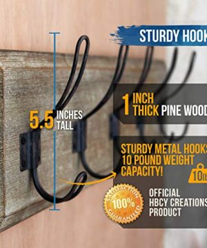 HBCY Creations Rustic Coat Rack Wall Mounted Brown Wooden 24 Entryway Coat Hooks 5 Rustic Hooks Solid Pine Wood Perfect Touch For Your Entryway Kitchen Bathroom Weathered Brown 0 3 300x360
