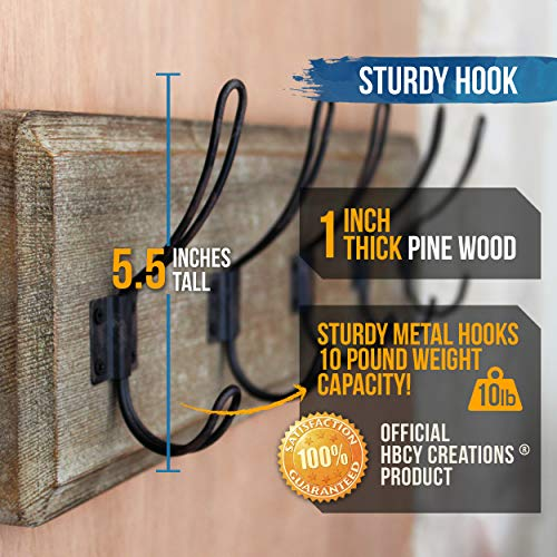 HBCY Creations Rustic Coat Rack Wall Mounted Brown Wooden 24 Entryway Coat Hooks 5 Rustic Hooks Solid Pine Wood Perfect Touch For Your Entryway Kitchen Bathroom Weathered Brown 0 3