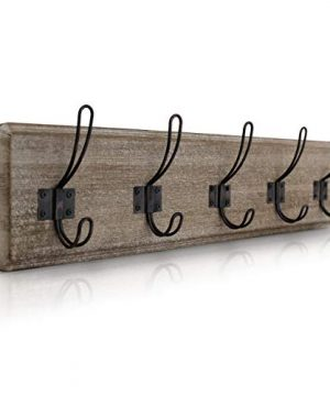 HBCY Creations Rustic Coat Rack Wall Mounted Brown Wooden 24 Entryway Coat Hooks 5 Rustic Hooks Solid Pine Wood Perfect Touch For Your Entryway Kitchen Bathroom Weathered Brown 0 300x360
