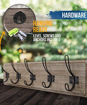 HBCY Creations Rustic Coat Rack Wall Mounted Brown Wooden 24 Entryway Coat Hooks 5 Rustic Hooks Solid Pine Wood Perfect Touch For Your Entryway Kitchen Bathroom Weathered Brown 0 4 300x360