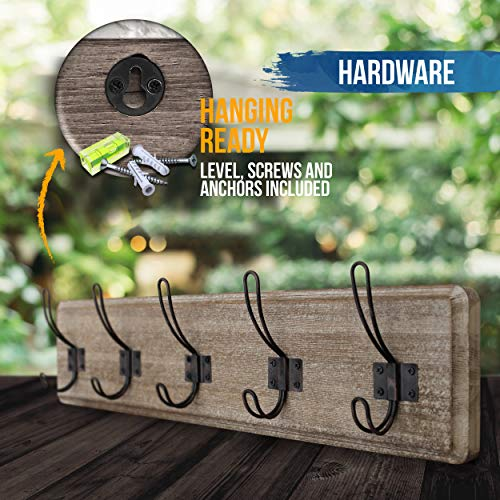 HBCY Creations Rustic Coat Rack Wall Mounted Brown Wooden 24 Entryway Coat Hooks 5 Rustic Hooks Solid Pine Wood Perfect Touch For Your Entryway Kitchen Bathroom Weathered Brown 0 4