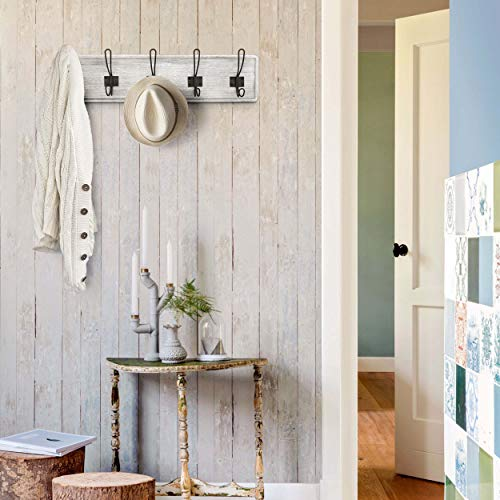 HBCY Creations Rustic Coat Rack Wall Mounted Whitewash 24 Entryway Coat Hooks 5 Rustic Hooks Solid Pine Wood Perfect Touch For Your Entryway Kitchen Bathroom Whitewash 0 0