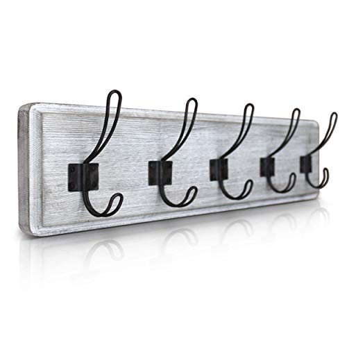 HBCY Creations Rustic Coat Rack Wall Mounted Whitewash 24 Entryway Coat Hooks 5 Rustic Hooks Solid Pine Wood Perfect Touch For Your Entryway Kitchen Bathroom Whitewash 0