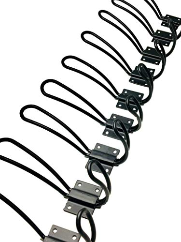 HOOXX 10 Pack Of Rustic Entryway Hooks Black Wall Mounted Vintage Double Coat Hangers With Large Screws Included Hard Industrial Heavy Duty Hook Set Best For Farmhouse Shabby Chic Hanging Look 0 3