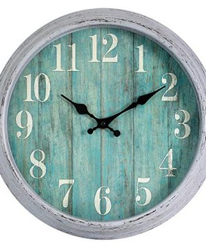 HYLANDA Teal Wall Clock 12 Inch Retro Vintage Silent Wall Clocks Battery Operated Non Ticking Decorative For Kitchen Home Living Room Office BathroomGray 0 300x360