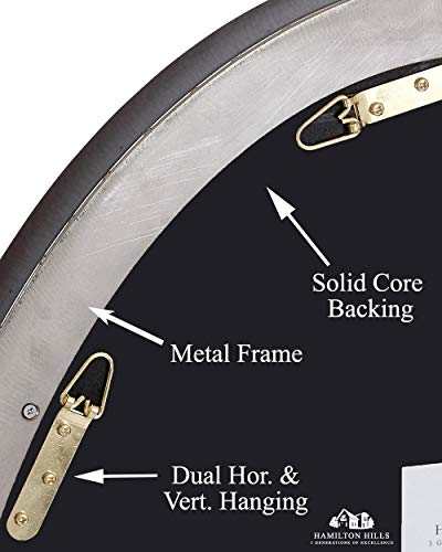 Hamilton Hills Contemporary Brushed Metal Wall Mirror Oval Black Framed Rounded Deep Set Design Mirrored Hangs Horizontal Or Vertical 24 X 36 0 2