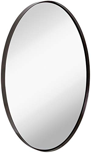 Hamilton Hills Contemporary Brushed Metal Wall Mirror Oval Black Framed Rounded Deep Set Design Mirrored Hangs Horizontal Or Vertical 24 X 36 0