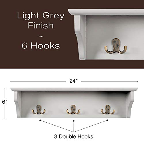 Hand Painted Grey Wooded Wall Mounted Hanging Entryway Shelf With 6 Hooks 24x6 Use As Coat Rack Hat Organizer Key Holder Perfect For Entryway Mudroom Kitchen Bathroom Hallway Foyer Grey 0 0