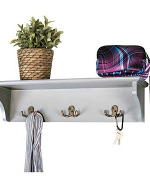 Hand Painted Grey Wooded Wall Mounted Hanging Entryway Shelf With 6 Hooks 24x6 Use As Coat Rack Hat Organizer Key Holder Perfect For Entryway Mudroom Kitchen Bathroom Hallway Foyer Grey 0 300x360