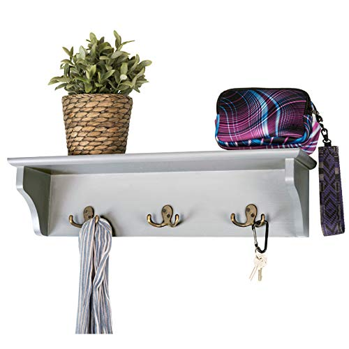 Hand Painted Grey Wooded Wall Mounted Hanging Entryway Shelf With 6 Hooks 24x6 Use As Coat Rack Hat Organizer Key Holder Perfect For Entryway Mudroom Kitchen Bathroom Hallway Foyer Grey 0