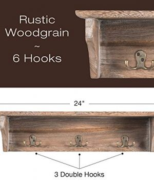 Handcrafted Rustic Wooded Wall Mounted Hanging Entryway Shelf 6 Hooks 24x6 Use As Coat Rack Hat Organizer Key Holder Perfect For Entryway Mudroom Kitchen Bathroom Hallway Foyer Rustic 0 0 300x360