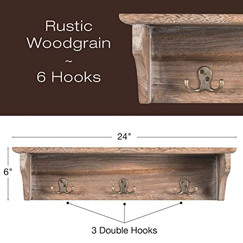 Handcrafted Rustic Wooded Wall Mounted Hanging Entryway Shelf 6 Hooks 24x6 Use As Coat Rack Hat Organizer Key Holder Perfect For Entryway Mudroom Kitchen Bathroom Hallway Foyer Rustic 0 0