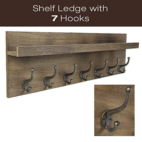 Heavy Duty Rustic Wooden Coat Rack And Entryway Shelf Includes 7 Hooks Top Storage Shelf And Key Chain Holder Size Is 32 X 1025 For Entryway Mudroom Kitchen Bathroom Hallway Foyer 0 0
