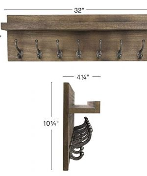 Heavy Duty Rustic Wooden Coat Rack And Entryway Shelf Includes 7 Hooks Top Storage Shelf And Key Chain Holder Size Is 32 X 1025 For Entryway Mudroom Kitchen Bathroom Hallway Foyer 0 1 300x360