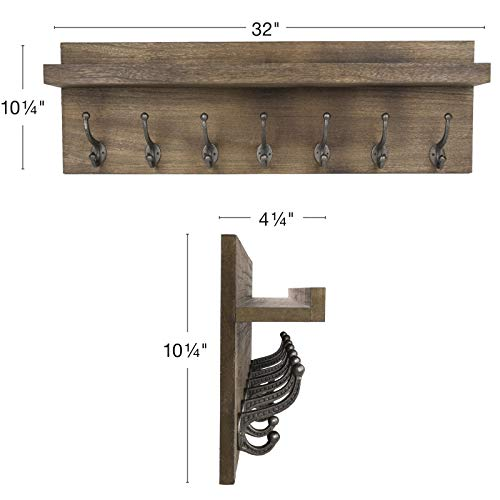 Heavy Duty Rustic Wooden Coat Rack And Entryway Shelf Includes 7 Hooks Top Storage Shelf And Key Chain Holder Size Is 32 X 1025 For Entryway Mudroom Kitchen Bathroom Hallway Foyer 0 1