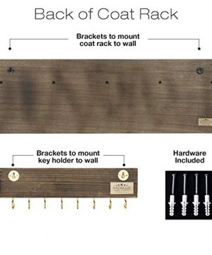 Heavy Duty Rustic Wooden Coat Rack And Entryway Shelf Includes 7 Hooks Top Storage Shelf And Key Chain Holder Size Is 32 X 1025 For Entryway Mudroom Kitchen Bathroom Hallway Foyer 0 3 300x360