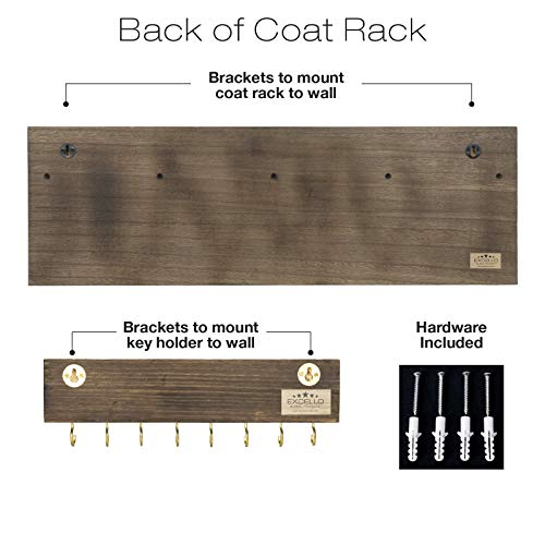 Heavy Duty Rustic Wooden Coat Rack And Entryway Shelf Includes 7 Hooks Top Storage Shelf And Key Chain Holder Size Is 32 X 1025 For Entryway Mudroom Kitchen Bathroom Hallway Foyer 0 3